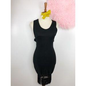 Vtg 80s Cha Cha Fringe Bottom Wiggle Dress SM